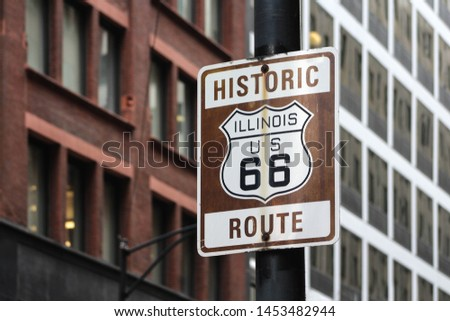 Sign of Historic Route 66 in Chicago, Illinois, USA #1453482944