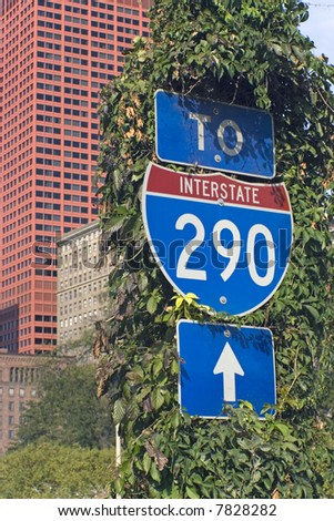 Sign of Interstate 290 in Chicago.