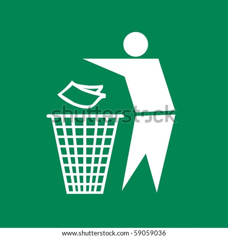 Sign of Keep Clean and Litter bin and recycle symbol