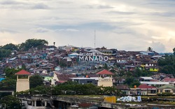 Sign of Manado City name, North Sulawesi, Indonesia