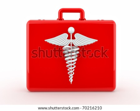 Sign of medicine on medical suitcase. 3d