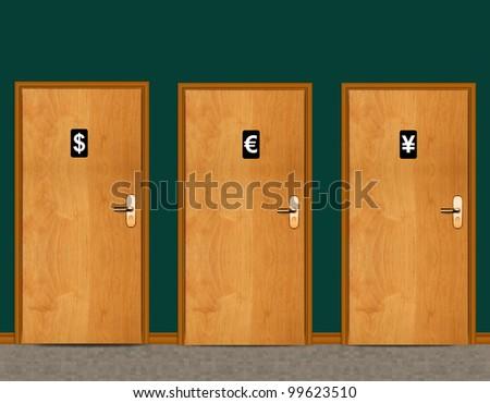 sign of public toilets WC on wooden door