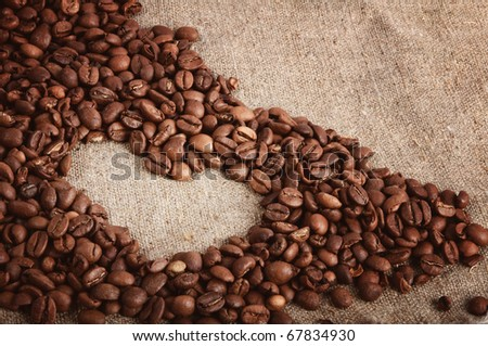 sign of the heart of the coffee beans
