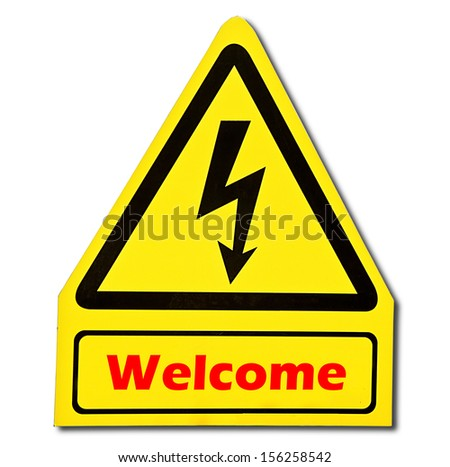 Sign of welcome  isolated on white background
