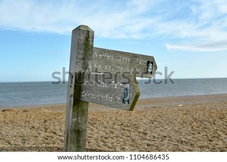 Sign on coastal path near Cley, Norfolk