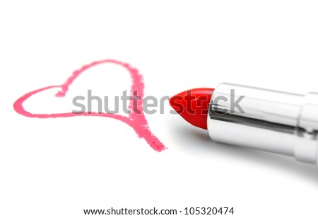 Sign on heart and lipstick. On a white background.