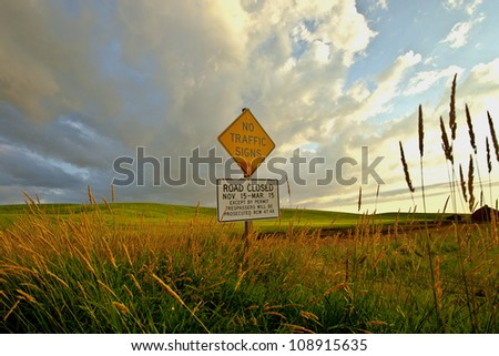 Sign on hill - stock photo