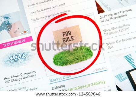 "Sign on internet advertising with text ""FOR SALE"" and red circle selection around banner."