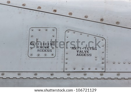Sign on side of a airplane - stock photo