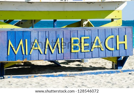 Sign on the beach in Miami, state Florida USA