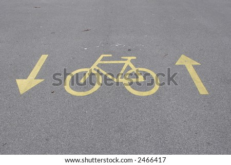 sign on the bicycle path - stock photo