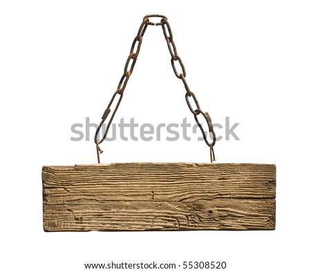 sign on the chain isolated on a white background