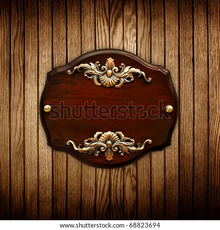 sign on wood background