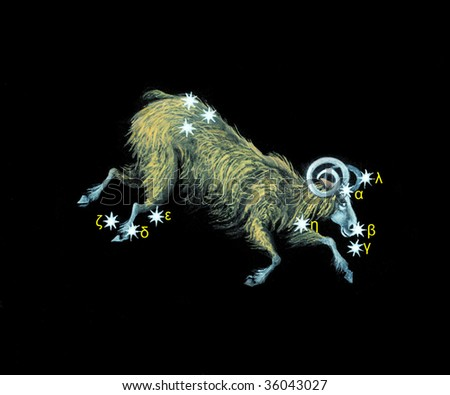Sign on zodiac constellation The Ram(Aries) - stock photo