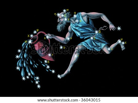 Sign on zodiac constellation The Water Bearer (Aquarius)