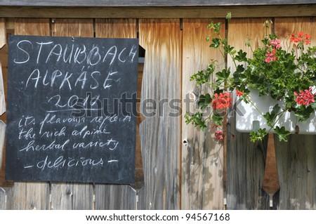 Sign outside café at Winteregg near Murren