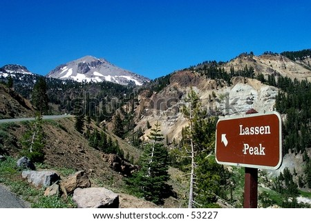 Sign pointing to Mt. Lassen