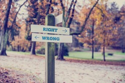 Sign pole with arrows at the crossroad of the walking alleys of a park marking opposite directions towards right and wrong, retro effect faded look.