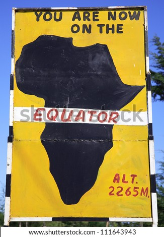 Sign post for the equator in Kenya Africa