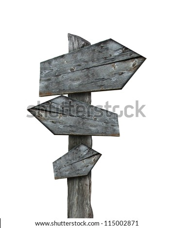 Sign-post isolated on white background