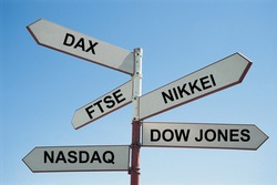 Sign post with various stock exchanges written on them