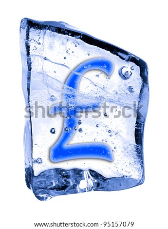 Sign pound sterling frozen in the ice on a white background