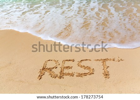 Sign REST on the beach with turquoise water, Zanzibar, Tanzania #178273754