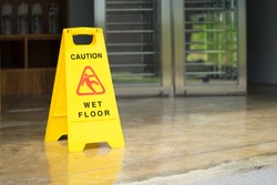 Sign showing warning of caution wet floor.Wet floor sign.