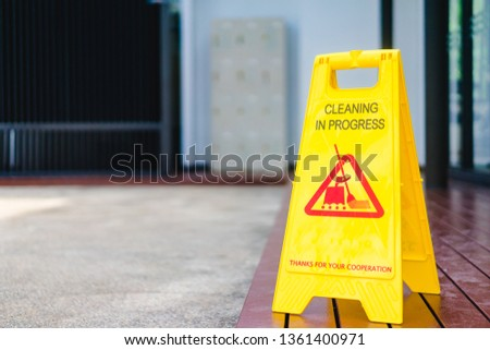 Sign showing warning of Cleaning in   progress floor in swimming pool.Cleaning in Progress sign.