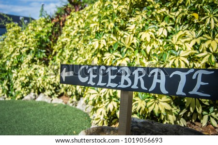 Sign that says celebrate #1019056693