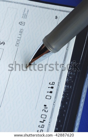 Sign the check and mail out isolated on blue