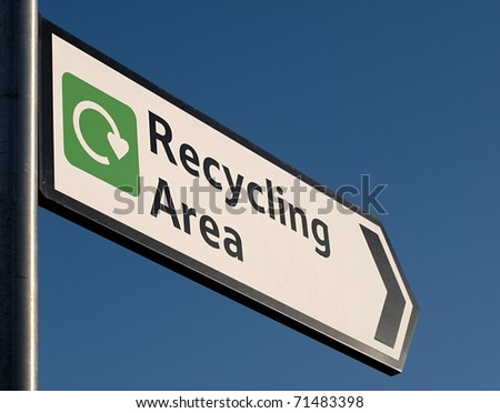 Sign to recycling area