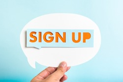 Sign-up button on speech bubble and blue background.