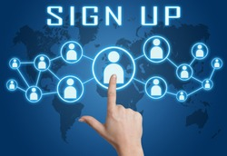 Sign up concept with hand pressing social icons on blue world map background.