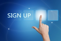 Sign up - hand pressing button on interface with blue background.