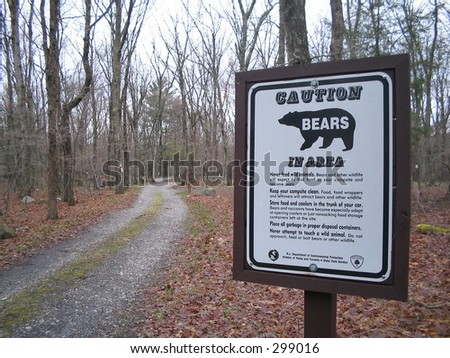 Sign warning that bears are in the area
