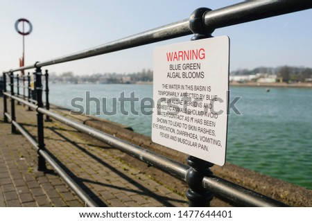 Sign warning the public about the dangers of blue-green algae at Preston Marina #1477644401