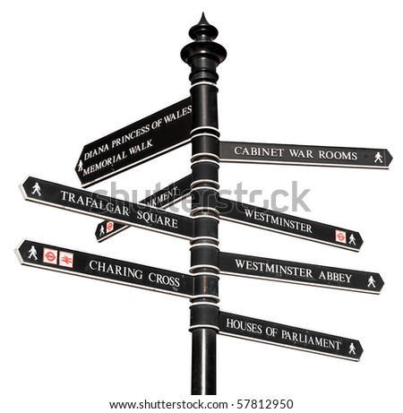 Sign with directions to London's landmarks isolated on white