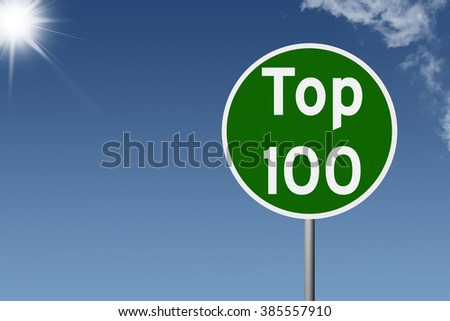 Sign with text Top 100 on sky background #385557910
