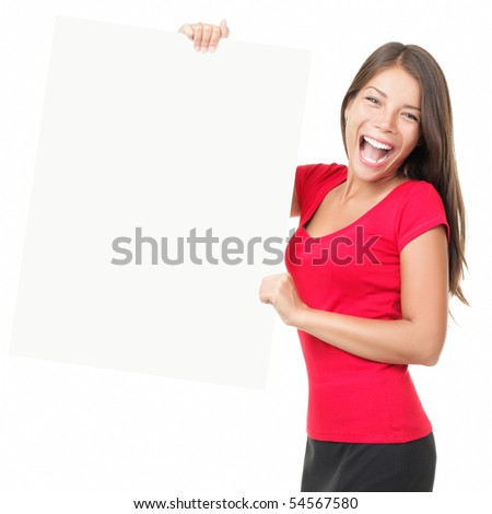 Sign woman. Cheerful woman holding blank white-board sign isolated on white.