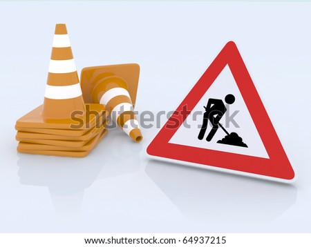 sign work in progress and traffic cones