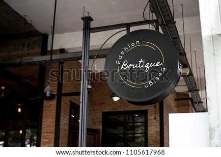 Signage outside a restaurant mockup #1105617968