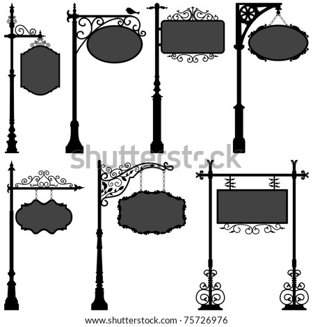 Signage Shop Sign Route Pole Information Frame Direction Plate Ornate Banner