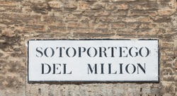 signage sotoportego del Milion - engl: passageway to area Milion - at an old house wall in Venice, Italy