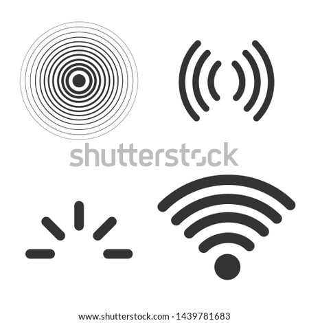 Signal icons  set isolated on white background, line outline style radio signals waves and light rays, radar, wifi, antenna and satellite signal symbols