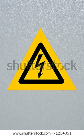 Signal of danger of electrocution from high voltage isolated in grey