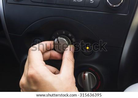 signal switch. Car interior detail.