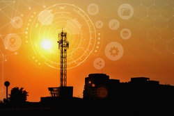 Signal tower with Technology Circle , Large antenna with the sunset, Technology background.