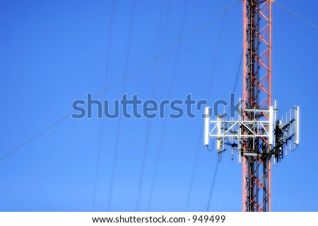 Signal/Transmission Tower and wires against a blue sky (bold color with radiant outline).