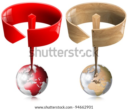 Signal With Circular Arrow / Two traffic signal, red and wood, with circular arrow on top of a globe